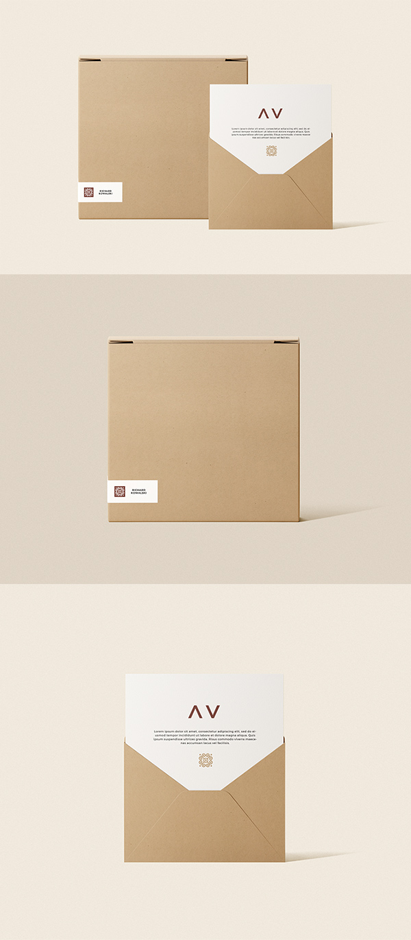 Envelope And Box Mockup