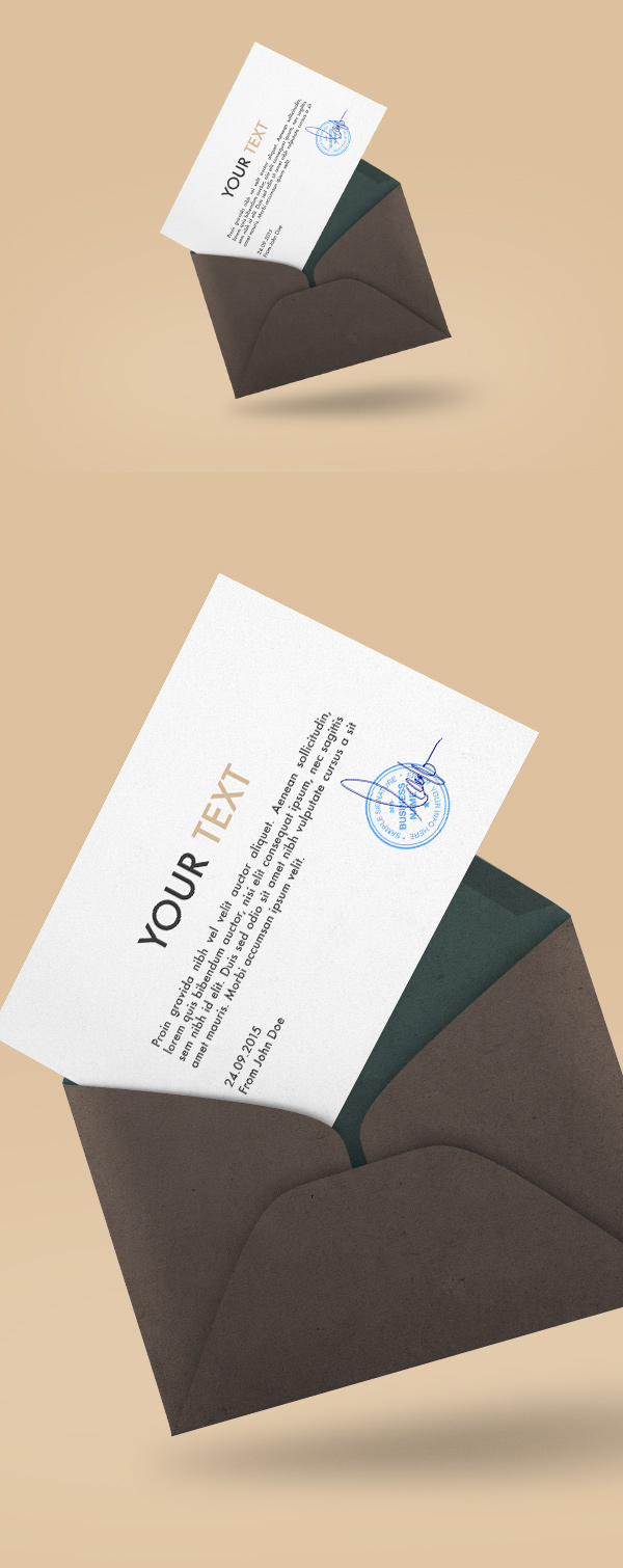 Floating Envelope Mockup