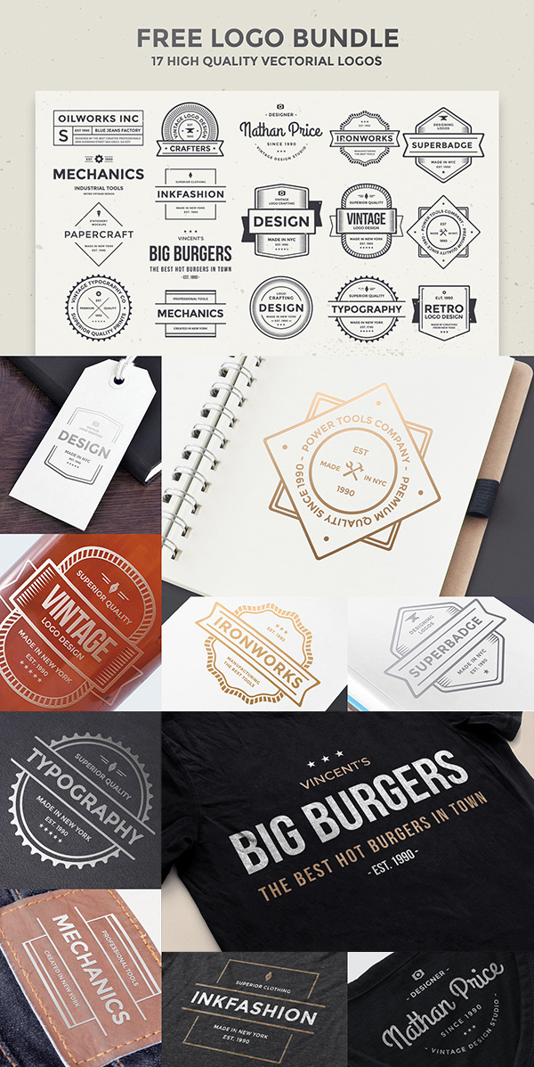 No Cost Logo Bundle - Download Free Vector Items. Preview of Free Vector Download.